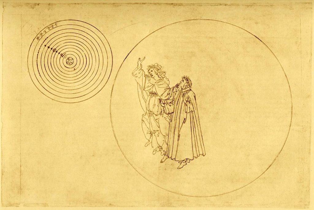 Sandro Botticelli, Scenes from Dante's 'Paradiso' featuring Dante and Beatrice in Paradise , c. 1480-1495